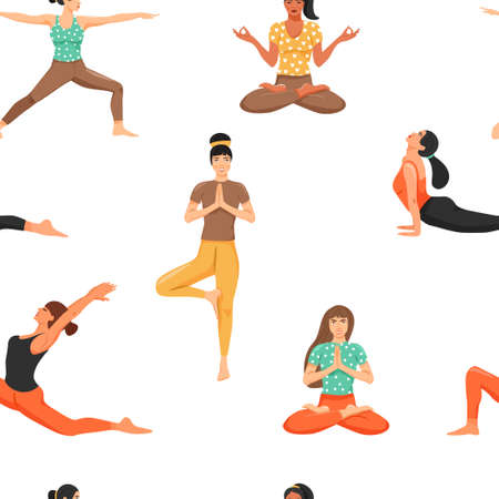 Illustration pour Seamless pattern with women in various yoga poses. Healthy lifestyle and yoga concept. Texture for textile, wrapping paper and packaging. Vector on white background. - image libre de droit