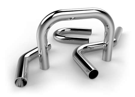 Photo pour Handrail pipes isolated on white - image libre de droit