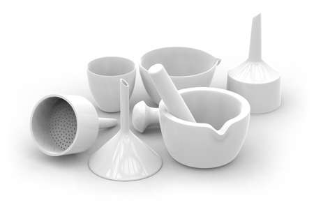 Ceramic labware isolated on white