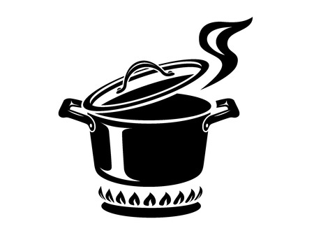 Illustration pour Cooking saucepan with steam icon. Logo in simple style with kitchen process. Tasty smell from stove of chief. Warm comfort and tasty food. Vector illustration of first course from haute kitchen star. - image libre de droit