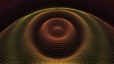 Circle ripple effect. Radial pulse surface dimensional wavy. Drip drop to data flow. Surface curl background. Grid structure as big data deep dynamic. Dot sea dance of information.