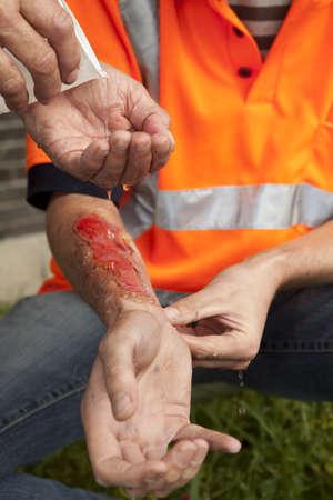 Photo pour Safety and accident at work. - image libre de droit