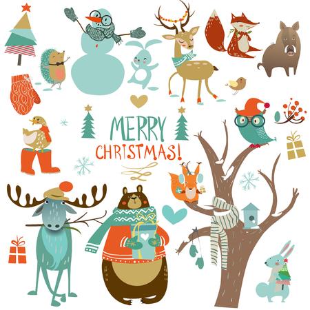 Illustration pour set with cute winter animals - image libre de droit
