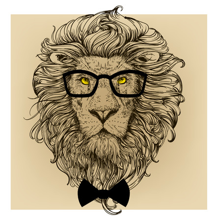 Illustration for lion character portrait with glasses - Royalty Free Image