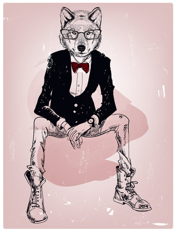 hipster portrait of wild wolf with glasses