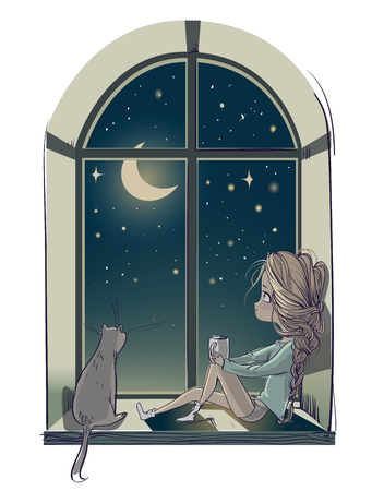 Illustration pour little cute cartoon girl with cat and the moon night - image libre de droit