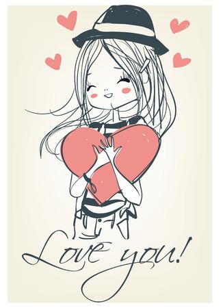 Illustration pour Beautiful girl with a heart. Cute girl. Romantic girl. - image libre de droit