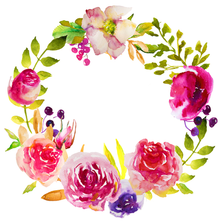 bright frame of watercolor flowers and herbs