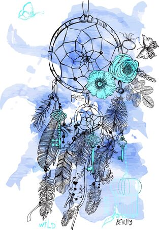 Indian Dream catcher in a sketch style. Vector illustration.