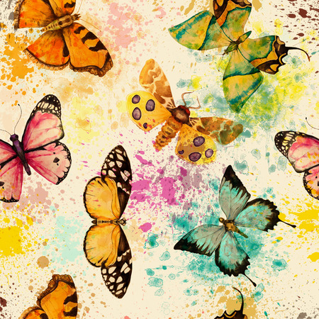 Foto per seamless pattern with watercolor bright colorful butterfly - Immagine Royalty Free