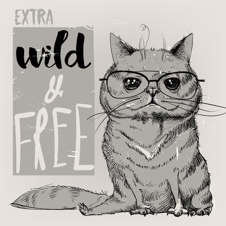 Ilustración de Cute portrait of a cat. Vector illustration. - Imagen libre de derechos