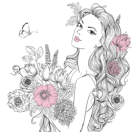 Illustration for portrait of young beautiful woman wirh flowers - Royalty Free Image