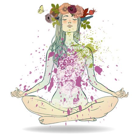 Illustration pour Beautiful Girl with floral wreath sitting in Lotus pose - image libre de droit