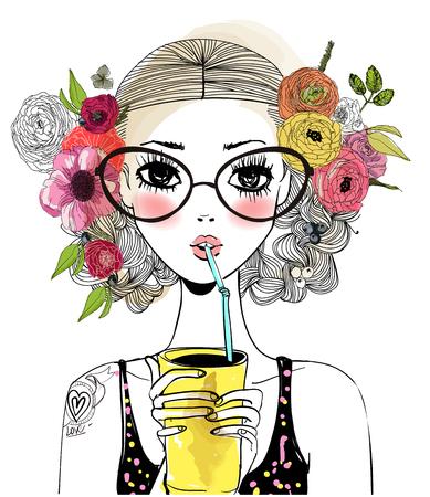 Ilustración de portrait of cute cool girl with floral wreath and drink - Imagen libre de derechos