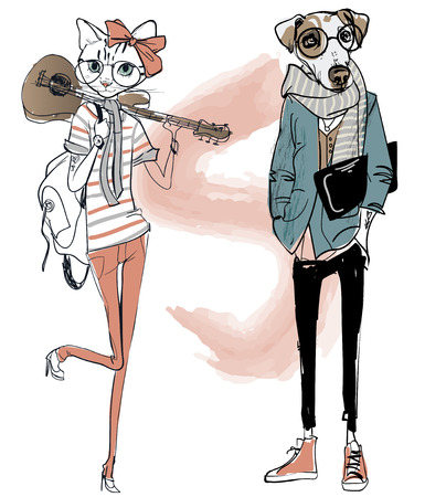 Illustration pour cute fashion hipster dog and cat. vector illustration - image libre de droit