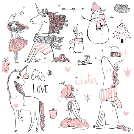 Ilustración de doodle winter hand drawn princess with unicorn - Imagen libre de derechos