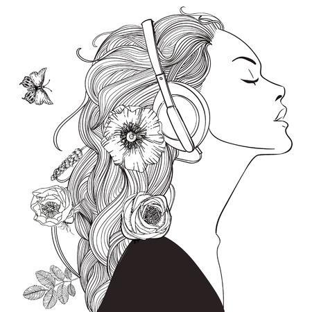 Ilustración de beautiful girl with headphones - Imagen libre de derechos