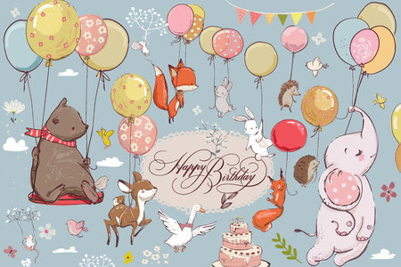 Illustration pour Cute animals flying with balloons - image libre de droit