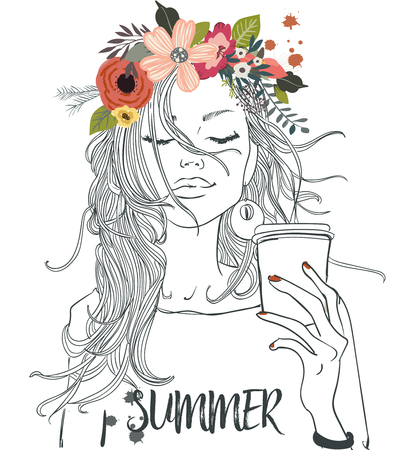 Illustration pour beautiful portrait of cartoon girl with cofee cup - image libre de droit