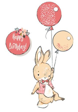 Ilustración de cute hare with balloons - Imagen libre de derechos