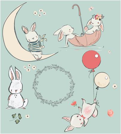 Ilustración de set with cute white hares. vector illustration - Imagen libre de derechos
