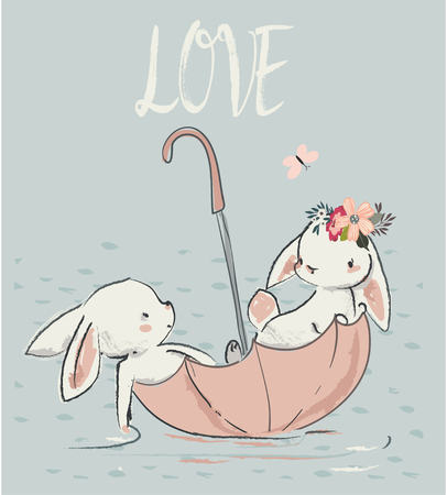 Illustration pour Couple of cute white hares. vector illustration - image libre de droit