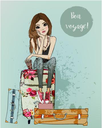 Ilustración de Cute cartoon girl. - Imagen libre de derechos
