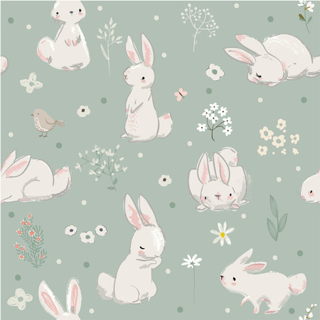 Illustration pour Pattern with cute little hares - image libre de droit
