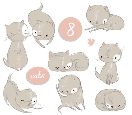 Photo pour Set with cute cartoon kitten - image libre de droit