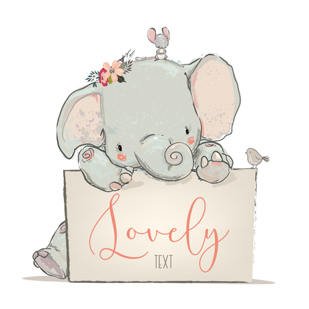 Illustration pour little lovely elephant with mouse and bird- vector illustration - image libre de droit