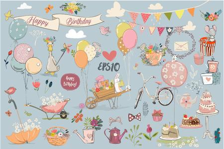 Illustration pour Birthday lovely elements collection. - image libre de droit