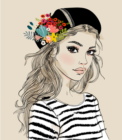 Illustration pour Portrait of a young woman with flowers - image libre de droit