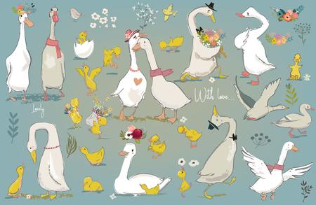 Illustration pour set with cute farm birds - image libre de droit