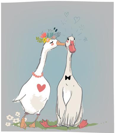 Illustration pour vedding couple of farm birds - image libre de droit