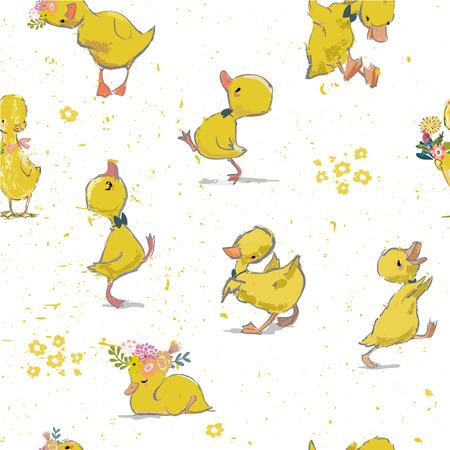 Illustration pour seamless pattern with little duckling - image libre de droit