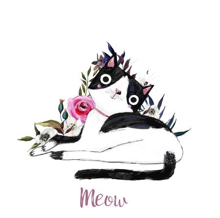 Foto de cute cartoon cat with flowers - Imagen libre de derechos