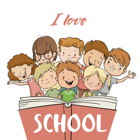 Illustration pour group of children with book - image libre de droit