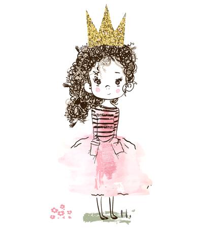 Ilustración de little cute pink princess with flowers. Vector illustration - Imagen libre de derechos