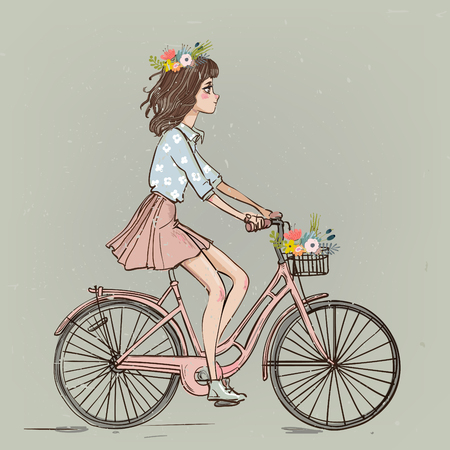 Ilustración de cute cartoon girl on bike with flowers - Imagen libre de derechos