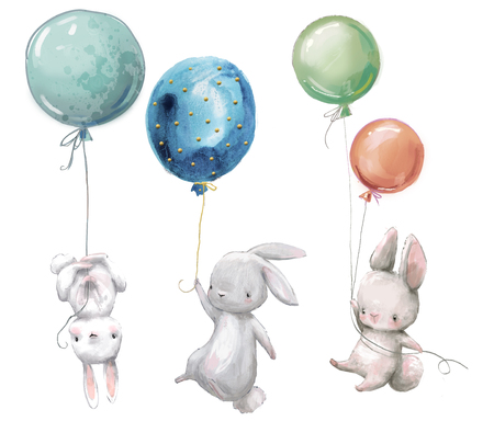 Little hares fly with balloon.