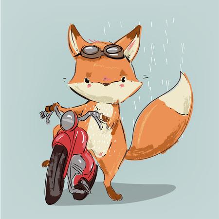 Illustration for cute cartoon fox on bike. Vector illustration - Royalty Free Image