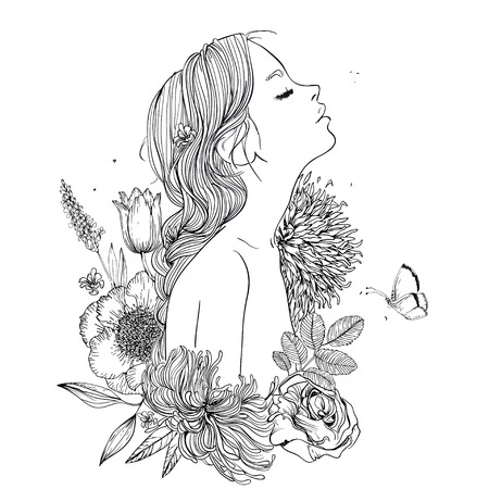 Illustration pour profile of young beautiful woman with flowers - image libre de droit