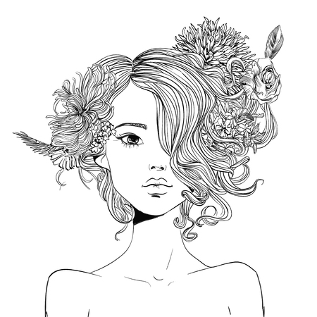 Illustration for portrait of young beautiful woman with flowers - Royalty Free Image