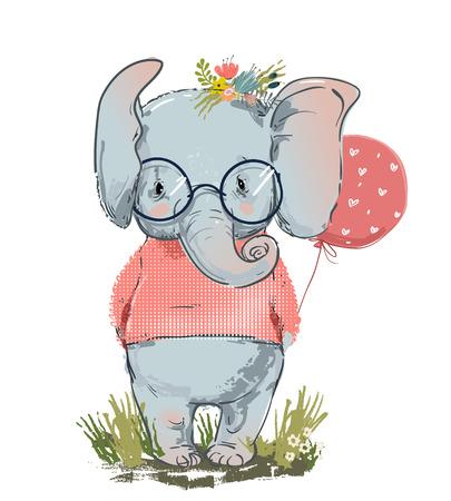 Illustration pour cute elephant with balloon and sweater - image libre de droit