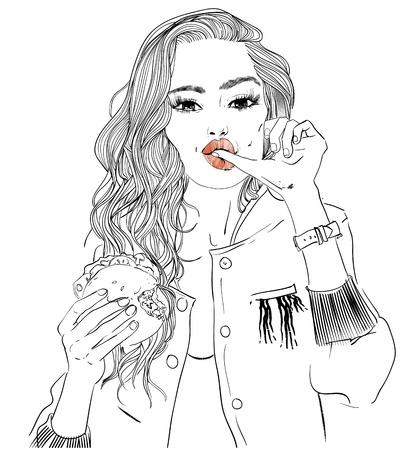 Ilustración de portrait of young woman portrait with burger - Imagen libre de derechos