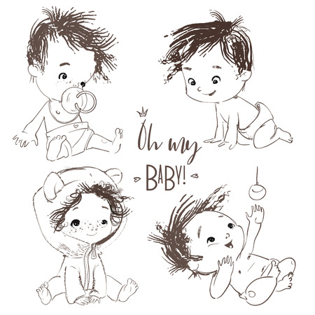 Illustration for lovely collection with cartoon little baby boy - Royalty Free Image
