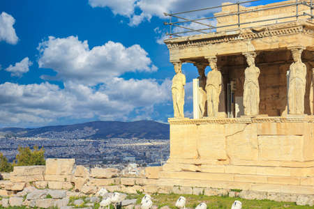 Photo for Caryatids at Erechtheum of Parthenon in Athens Greece - Royalty Free Image