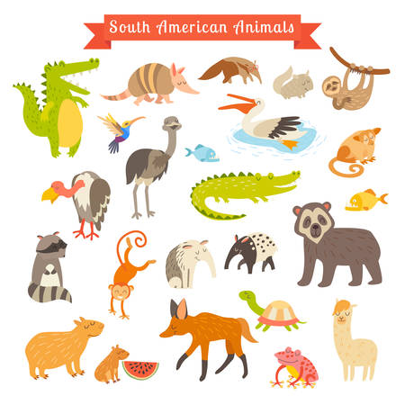 Illustration pour Sourth America animals  vector illustration. Big vector set. Isolated on white background. Preschool, baby, continents, travelling, drawn - image libre de droit