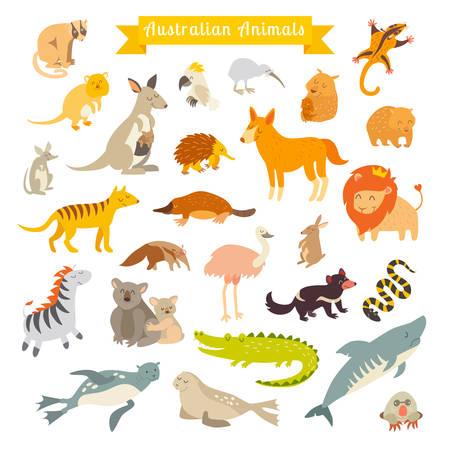 Illustration pour Animals world map, Australia. Vector illustration, preschool, baby, continents, oceans, drawn, Earth - image libre de droit