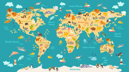 Ilustración de Animal map for kid. World vector poster for children, cute illustrated. Preschool cartoon globe with animals. Oceans and continent: South America,Eurasia,North America,Africa, Australia.Baby world map - Imagen libre de derechos
